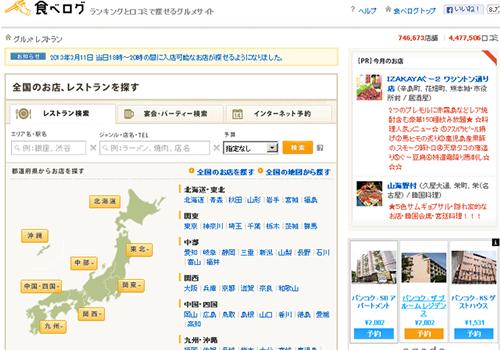 レビュー関連の人気サイトのランキング(2013年4月分)