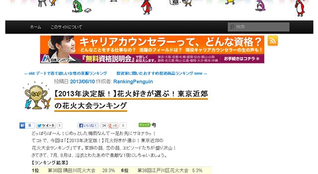 花火好き300人に聞いた2013年東京近郊花火大会ランキング