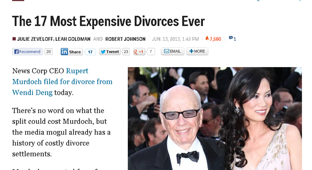 世界で一番、お金がかかった離婚 – 世界の歴代慰謝料ランキング