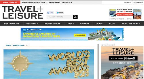 アメリカの月刊旅行雑誌「トラベル+レジャー」によるワールド・ベスト・アワード 2013