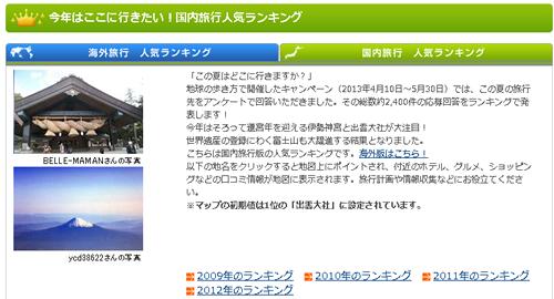 2013年の夏休み旅行「今年はここに行きたい!国内旅行人気ランキング」