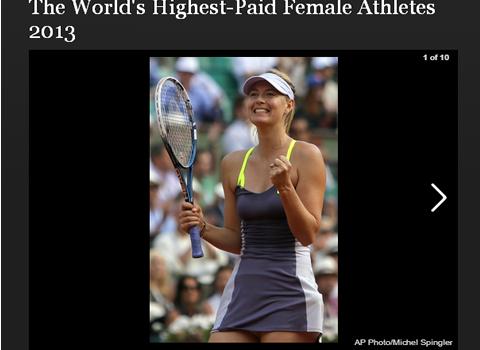 2013年女子スポーツ選手長者番付(収入ランキング)