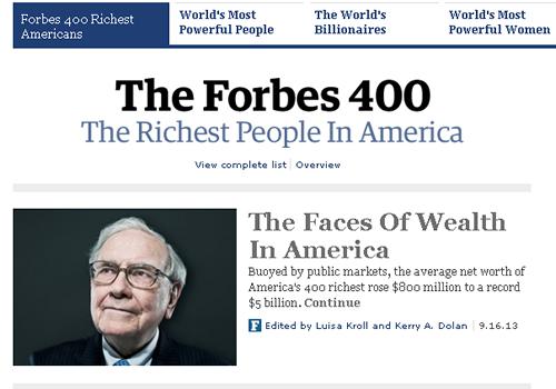 2013年アメリカ長者番付・アメリカの富豪ランキング by フォーブス誌