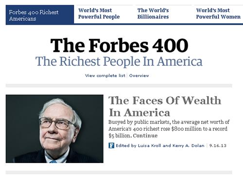 『フォーブス』誌のアメリカ長者番付上位400人