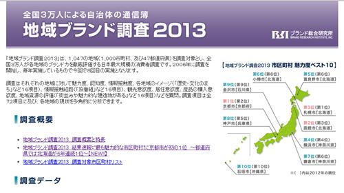 2013年、最も魅力的な市区町村&都道府県は? 「地域ブランド調査2013」