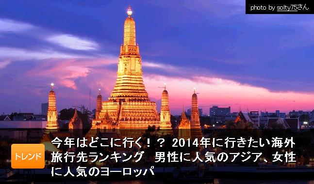 2014年に行きたい海外旅行先