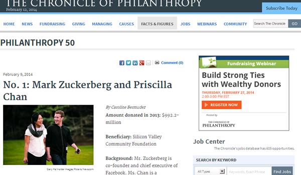 2013年アメリカで最も寄付をした人は? 米国の2013年寄付金(慈善活動)ランキング 50