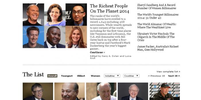 2014年版世界の富豪ランキング(長者番付) by フォーブス誌