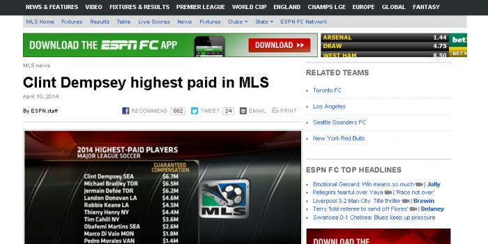 アメリカのプロサッカーリーグで1番、年俸が高い選手は? アメリカのプロサッカーリーグ「メジャーリーグサッカー」年俸ランキング