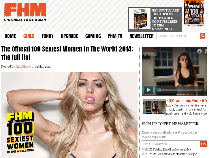 FHM誌の世界で最もセクシーな女性100人ランキング