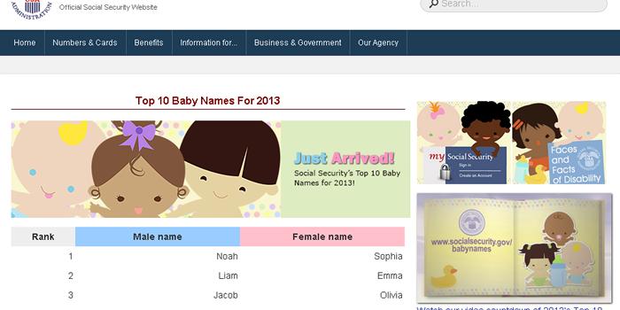 アメリカで一番人気の赤ちゃんの名前は? 2013年生まれの赤ん坊の名前ランキング