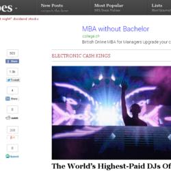 米フォーブス誌の「2014年世界で最も稼いでいるDJランキング」