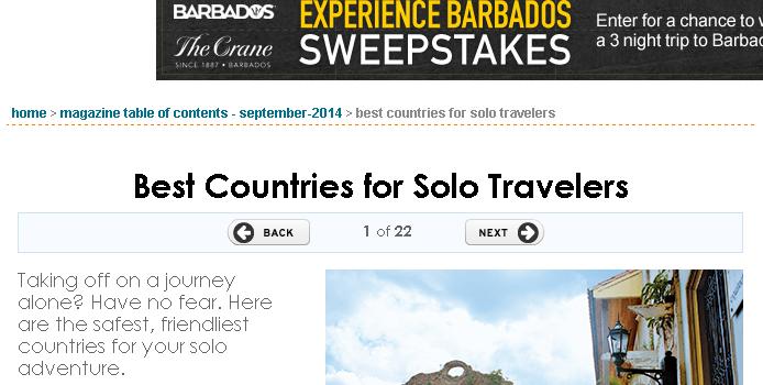 著名な旅行雑誌「トラベル+レジャー」(T+L:Travel+Leisure)が選ぶ一人旅に最適な国ランキング
