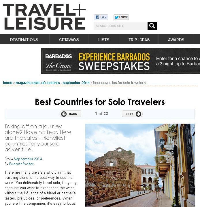 一人旅に最適な国ランキング by トラベル+レジャー(Travel+Leisure)