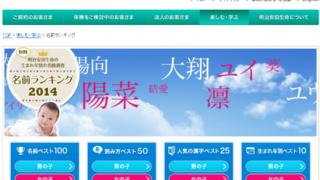 名前ランキング2014 - 安田生命保険