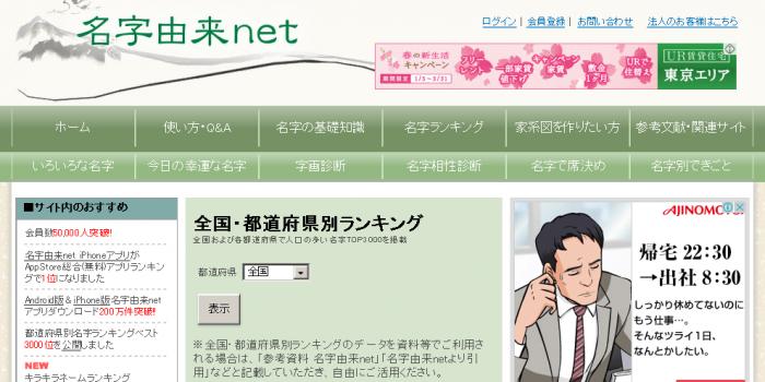 全国・都道府県別「名字ランキングトップ3000」 by 名字由来net